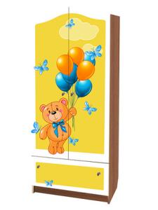 Детский шкаф для детской одежды Желтый медвежонок