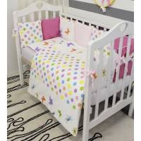Комплект в кроватку с бортиками-подушками ByTwinz Бабочки 6 предметов