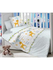 Комплект постельного белья Masterson Bunny Blue Satin 7 предметов