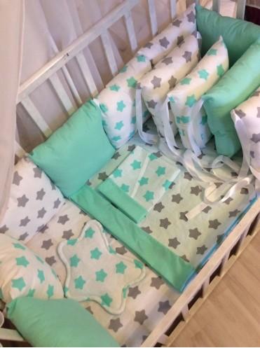 Комплект постельного белья в кроватку Мятная Звездочка