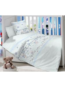 Комплект постельного белья Masterson Bear Blue Satin 7 предметов