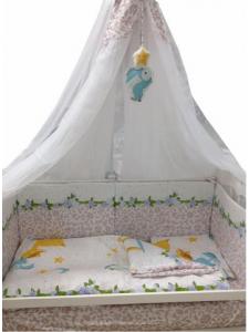 Комплект постельного белья Masterson Bunny Rose Satin 7 предметов