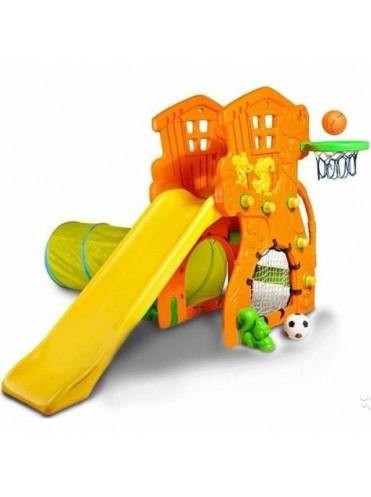 Детская горка Ching Ching Дом Дерево + баскетбольное кольцо, 2 мяча, тоннель, футбольные ворота
