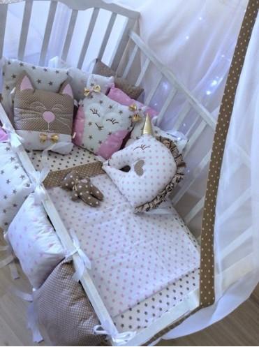 Комплект в кроватку борта-подушечки со Зверюшками
