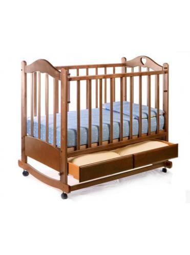 Детская деревянная кроватка Лана 2 колесо-качалка, ящик