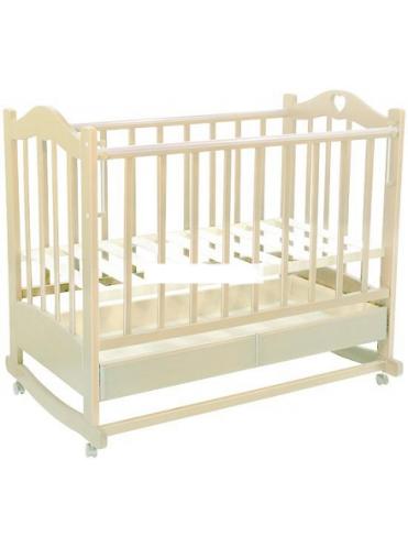 Детская деревянная кроватка Лана 2 колесо-качалка, ящик (белая, слоновая кость)