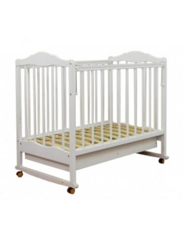 Детская деревянная кроватка СКВ-2 колесо-качалка, автостенка, ящик ПВХ (белый, слоновая кость)