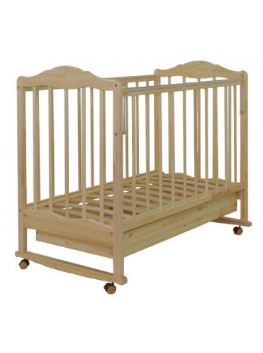 Детская деревянная кроватка СКВ-2 колесо-качалка, автостенка, ящик ПВХ