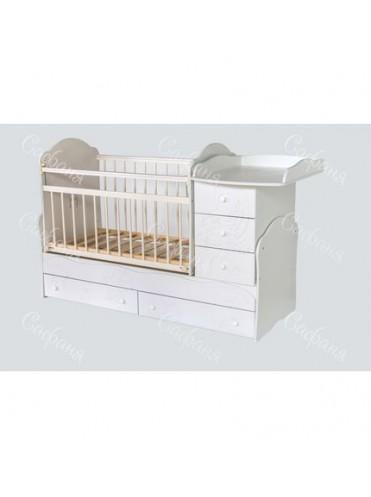 Кроватка трансформер для новорожденных № 3 КОШКИ-МЫШКИ белая