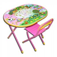 Набор детской мебели Деми ОВАЛ веселая ферма (синий, розовый)