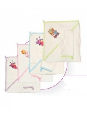Детский банный набор 2502  (полотенце, рукавичка с аппликацией)