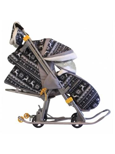Санки-коляска Galaxy Кидс 1-1 с выдвижными колесами