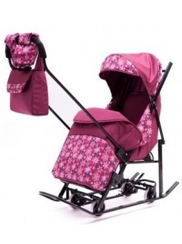 Санки-коляска Зимняя Сказка 3В с выдвижными колесами