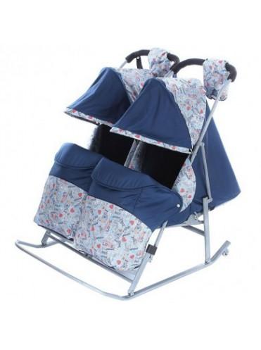 Санки-коляска Зимняя сказка 3В Твин для двойни