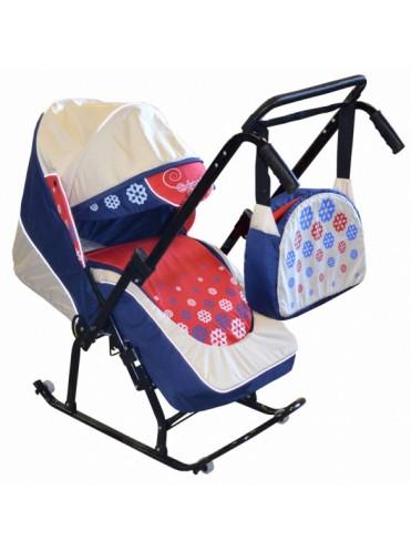 Санки коляска с колесиками и перекидной ручкой Скользяшки Вьюга-7-Р1