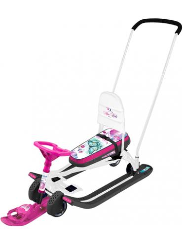 Детский Снегокат Тимка Спорт 6 с П-образным толкателем, спинкой и колесной базой
