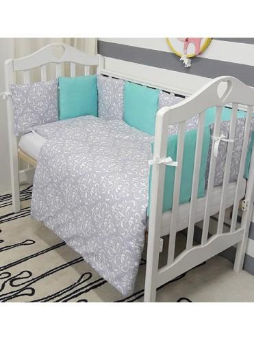 Комплект в кроватку с бортиками-подушками ByTwinz Дамаск Мята 6 предметов