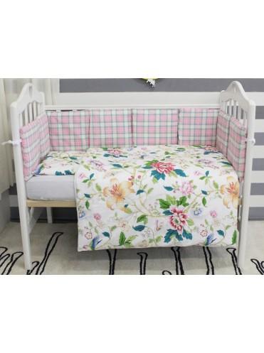 Комплект в кроватку с бортиками-подушками ByTwinz Колибри 6 предметов