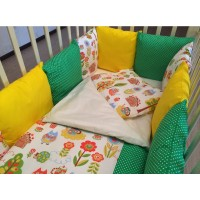 Комплект в кроватку с бортиками-подушками ByTwinz Лесная сказка 6 предметов
