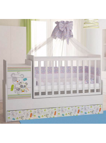 Кровать-трансформер детская Фея 1100 белая с декором