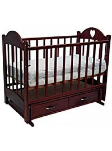 Детская кроватка ТАИСИЯ 3 (ящик+поперечный маятник+накладка сердечко)