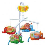 Детская музыкальная карусель Biba Toys Слоники BM118