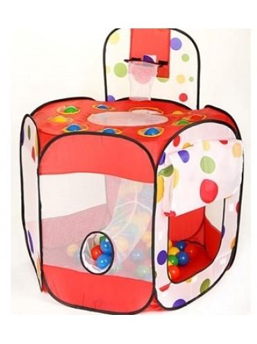 Детская палатка Дом Calida + 100 шаров (многоугольник + баскетбольное кольцо)