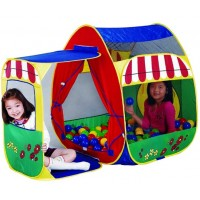 Детская палатка Дом + 100 шаров Calida Домик с пристройкой