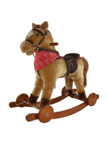 Детская мягкая качалка Лошадка на колесах GS2021W