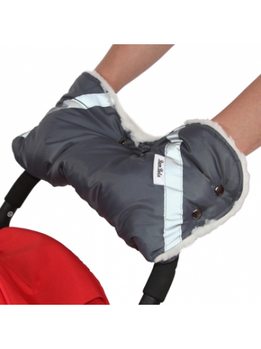 Муфта для коляски BAMBOLA 053В (шерстяной мех+плащевка+кнопки)